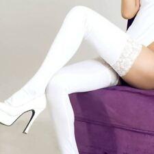 Sexy Strümpfe Wet Look Faux Leder Oberschenkel Lady High Lace Stay Up Socken