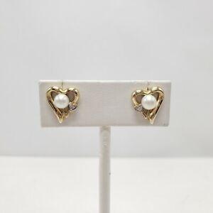 14K Yellow Gold Cultured Pearl & Diamond Accent Heart Shape Stud Earrings