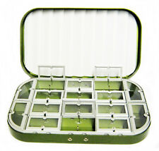 Aluminum Green Satin 16 Compartment Fly Box Nymphs Wet Dry Flies Rods Reels Nets