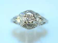 ANTIQUE ART DECO 18K WHITE GOLD FILIGREE DIAMOND RING .27 CARAT TW SIZE 7