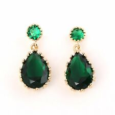 18k Gold Filled Emerald Hoop Earrings Womens Tear-Drop Stud Earring Jewelry