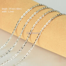 .925 Sterling Silver Solid Real Classy Curb Link Chain Necklace 1.2mm Fashion