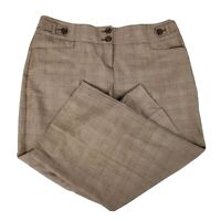 The Limited Cassidy Fit Brown Plaid Wide Leg Women's Career Dress Pants Size 14