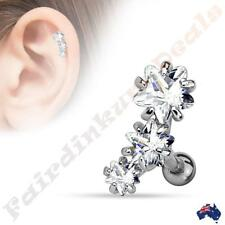 Silver Ion Plated Tragus/Cartilage Stud with Triple Star Clear CZ Set