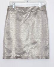 Ann Taylor LOFT - 4 (S) - Gold Metallic Acetate/Cotton Woven Mini Pencil Skirt