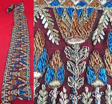 Vintage Art Deco Egyptian Revival Lotus Gold Embroidered Dress Trim Sash Yardage