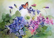 """On My Way, Violet"", Butterflies, Violets, florals, Purple, Pink"