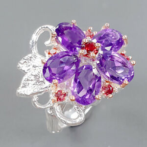 Handmade jewelry Amethyst Ring Silver 925 Sterling  Size 5.5 /R173045
