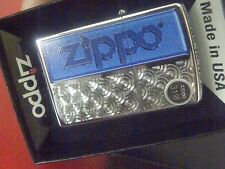 Zippo #28658 High Polished Chrome Lighter With Blue Logo & Design Retail $31.95!