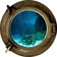 Huge 3D Porthole Under The Sea View Wall Stickers Film Mural Decal 522