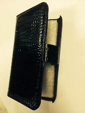 Samsung Galaxy SII i9100 Fitted Leather Flip Case Crocodile Skin Black Brand New