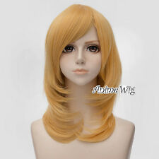 Unisex Anime 45CM Medium Yellow Heat Resistant Cosplay Wig For Tifa Lockhart