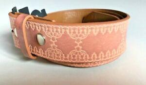 BELT - Embossed Design Mocha Faux Leather Snap On Belt Mens Womens - NO BUCKLE