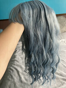 Ladies Light Blue Grey Long Curly Wigs Womens Party Wavy Hair Cosplay Wig