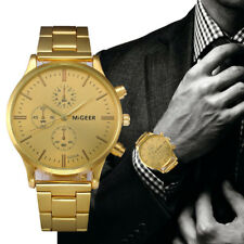 Fashion Luxury Analog Mens Watch Gold Stainless Steel Quartz Wrist Watch Cheap