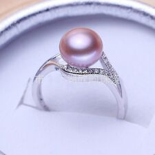 925 Silver Filled Round White Purple Pink Pearl Crstal Rings Weddding Jewelry