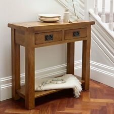 New Solid OAK Console table Rustic oak 2 drawer Hall Way Telephone Letter Table