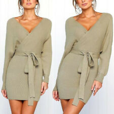 Sexy V Neck Knitted Sweater Bodycon Dress and Women Belted Backless Knitwear