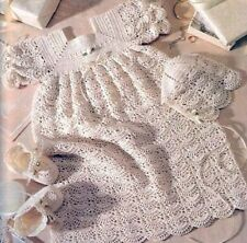 CROCHET PATTERN Christening gown dress vintage newborn bonnet bootees shell 278