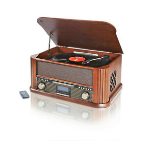 Nostalgie Musikanlage DAB+ Encoding Holz Plattenspieler Usb Kassette CD RADIO