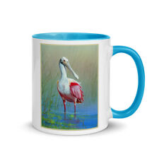 Pink Roseate Spoonbill Mug Birdlover Cup Birdwatching Birds Beach Art Florida