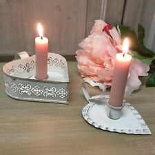 Vintage Chic White Heart Thumb Candelstick Holder Shabby Candle  French Handle