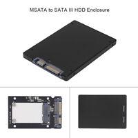 Portable Metal mSATA to 2.5'' SATA III HDD SSD Converter Adapter Enclosure Case