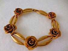 Vintage Gold Costume Rose Link Bracelet with Roses 7 inch