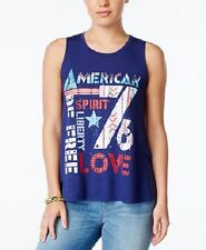 "Belle Du Jour Juniors Top Sz S Lox Blue Print ""American Spirit"" Sleeveless Tank"