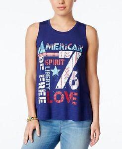 "Belle Du Jour Juniors Top Sz L Lox Blue Print ""American Spirit"" Sleeveless Tank"