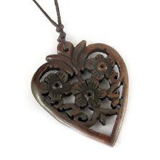 Tibetan Bone Flowers Design Heart Pendant Jewelry Double Faces