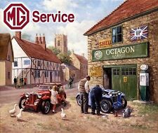Vintage MG Sports Car Service Rural Garage Motor Mechanic Medium Metal Tin Sign
