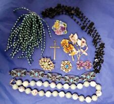 VINTAGE JOB LOT costume jewellery incl Rhinestone brooches earrings necklaces