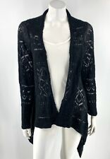 Black Open Knit Cardigan Sweater Top Size XL Draped Front Womens