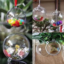 10X Clear Fillable Candy Box Christmas Bauble Xmas Tree Ball Ornament Decor  FOU