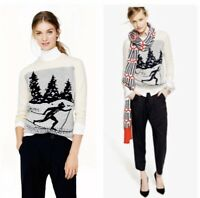 J .Crew Gray Heathered Crew Neck Skier Sweater Ski Wool Blend  Women's Sz L
