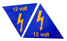 Pair 12 Volt Battery Cutoff Stickers - Race Rally Circuit Tractor Grasstrack