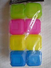 8 Couleur Multi mets de plastique conteneurs baby mini pots de congélation sevrage vente uk
