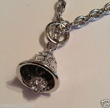 3D Bell with A/B crystal + clapper necklace charm pendant silver tone A49