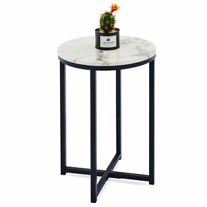 40 cm Modern Round Coffee Table Book Plant Night Stand Faux Marble Black & White