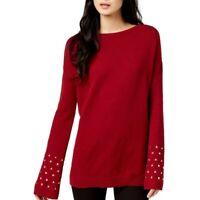 MICHAEL KORS NEW Women's Wool Blend Studded Crewneck Sweater Top TEDO