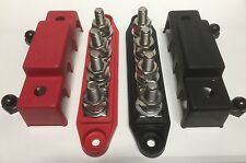1 Set 7 Point(3 Sm 4 Lg 3/8)Power Distribution Block Red/Black DC Bus Bar Insul.