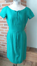 Vintage Anne Fogarty Dress Kelly Green, Laced Detail on Top