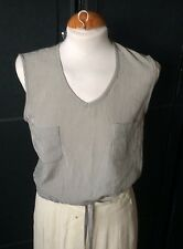 VINTAGE WISSIMACH GREYISH GREEN DOG TOOTH CHECK TOP WITH DRAW STRING WAIST M
