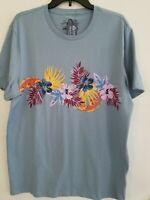 American Rag CIE Mens Large Blue Flower Print Graphic Round Neck T Shirt