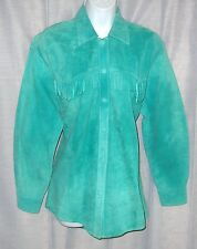 ARELLA MED 42 BUST TEAL FRINGED TRIM SNAP BUTTON FRONT SUEDE LEATHER JACKET
