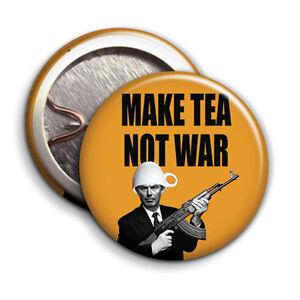 Make Tea Not War - Button Badge - 25mm 1 inch - Tony Blair Parody