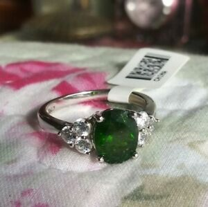 🌺~JTV~STERLING SILVER~LARGE~RUSSIAN CHROME DIOPSIDE~& WHITE TOPAZ~RING~SZ.9🌺