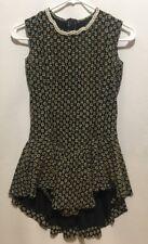 Vintage Floral PlaySuit SKORT Shorts Jumper Romper MINI Dress Black Pearl Collar