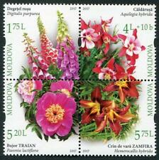 Botanical Garden Flowers se-tenant block of 4 stamps mnh 2017 Moldova
